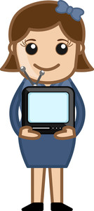 Woman Holding Small Portable Tv - Business Cartoons Vectors