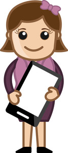 Woman Holding Tablet Mobile Device - Cartoon Bussiness Vector Illustrations