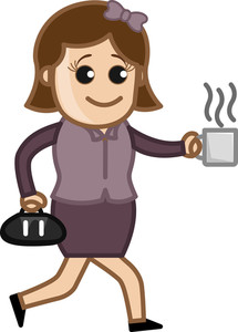 Woman In Hurry With Coffee Cup - Cartoon Business Vector Character