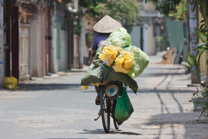Woman On A Bike In Vietnam