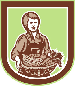 Woman Organic Farmer Farm Produce Harvest Retro