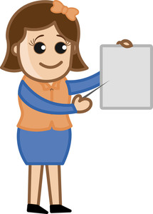 Woman Pointing Stick To A Blank Board - Cartoon Office Vector Illustration