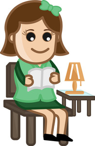 Woman Reading A Book - Cartoon Office Vector Illustration