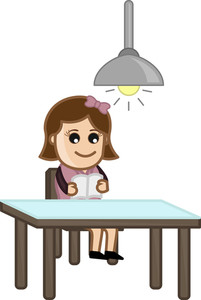 Woman Reading Alone - Cartoon Office Vector Illustration