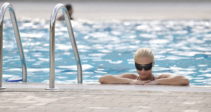 Woman relax on swimming pool
