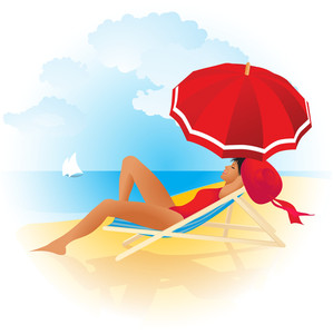 Woman Relaxing On A Tropical Beach. Vector Background.
