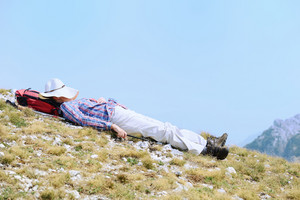 Woman resting in pure nature
