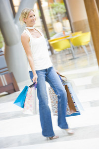 Woman shoppping in mall with bags