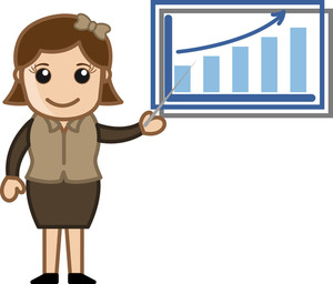 Woman Showing Company Stats - Cartoon Bussiness Vector Illustrations