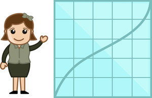 Woman Showing Graph Chart Stats - Cartoon Bussiness Vector Illustrations