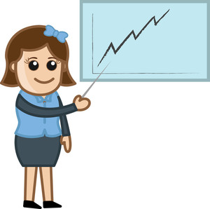 Woman Showing Growth Graph - Cartoon Bussiness Vector Illustrations