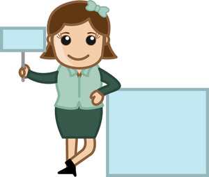 Woman Showing Two Information Board - Cartoon Bussiness Vector Illustrations