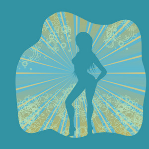 Woman Silhouette With Abstract Background