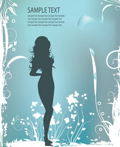 Woman Silhouette With Floral Background