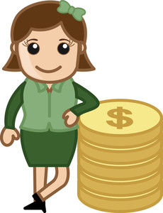 Woman Standinng With Coins - Money Concept - Vector Illustration