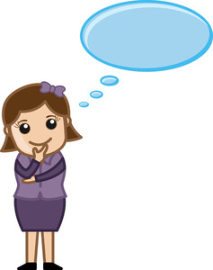 Woman Thinking - Thought Bubble - Business Cartoons Vectors