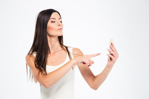 Woman using smartphone isolated