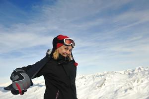 Woman winter snow skiskiing in winter