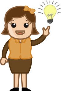 Woman With Idea Bulb - Cartoon Office Vector Illustration