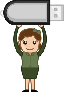 Woman With Pen Drive - Internet Data Dongle - Vector Illustration