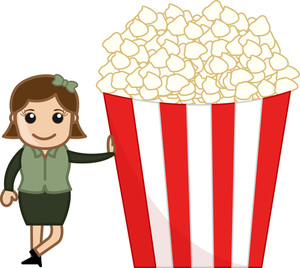 Woman With Popcorns - Cartoon Business Vector Character