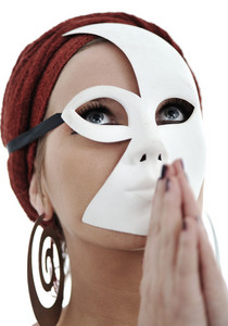 Woman with scarf and mask