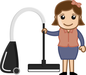 Woman With Vacuum Cleaner - Vector Illustration