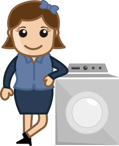 Woman With Washing Machine - Vector Illustration