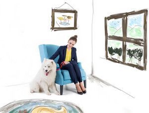 Woman with white dog in living room
