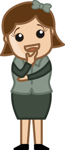 Woman Wondering - Business Cartoon Character Vector