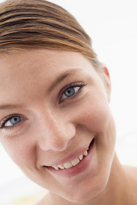 Woman's face smiling