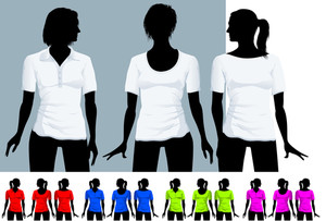 Women's T-shirt And Polo Shirt Design Template With Black Body Silhouette (various Hair-dress). Vector.