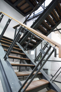 Wood and metal stairs