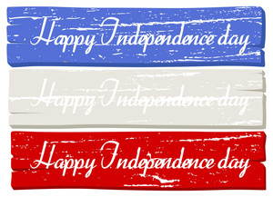 Wood Board Banner Usa Independence Day Vector Theme Design