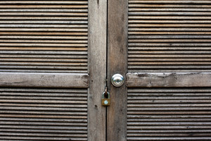 Wood door locked