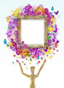 Wood Frame With Flower