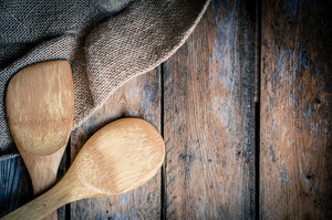 Wood Kitchen Utensils On Wooden Background