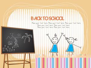 Wooden Blackboard Background For Kid