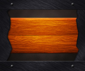 Wooden Boards In Iron Frame Background