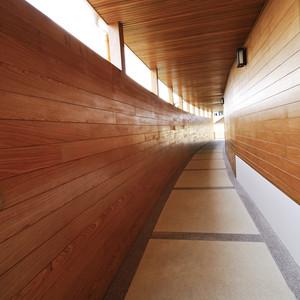 wooden centre walkway