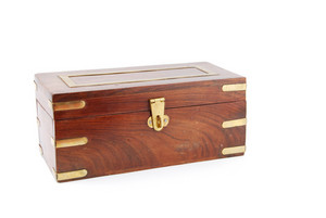Wooden Chest On White