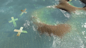 Wooden Crosses  In Water