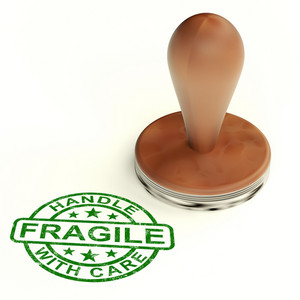 Wooden Fragile Stamp Shows Breakable Products For Delivery