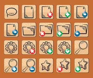 Wooden Icon Set. Vector.
