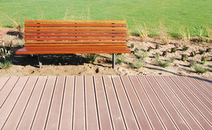 Wooden Park Bench At The Park