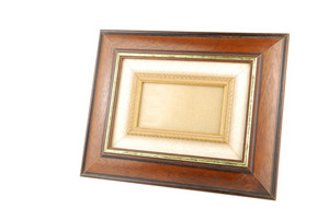 Wooden Photo-frame On White