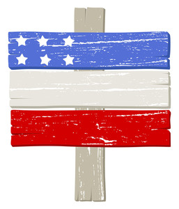 Wooden Sign Board American Themed Independence Day Vector Design