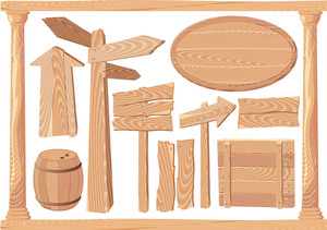 Wooden Signs And Elements. Vector