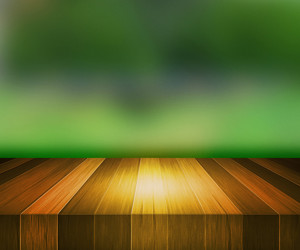 Wooden Stage Green Background