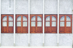 Wooden windows on asia house